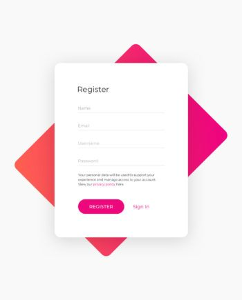 Sign Up Form Component Template for Sketch